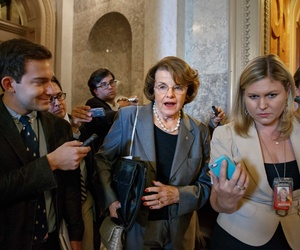Sen. Dianne Feinstein, D-Calif., speaks to reporters on Capitol Hill after a caucus with fellow Democrats in the Senate.