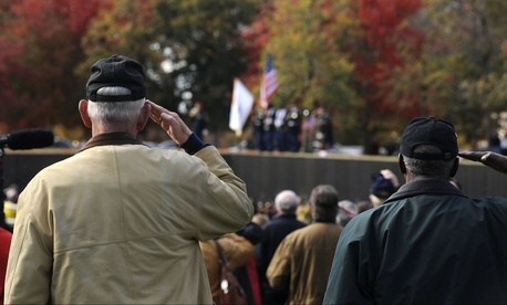 Two men salute during a ceremony at Veterans Day 2013.