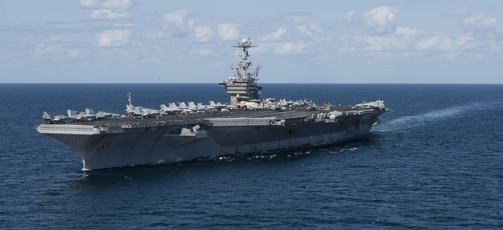 The Nimitz Class aircraft carrier USS Harry S. Truman transits the Gulf of Oman.