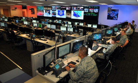 Airmen work on cyberwar issues at Port San Antonio.