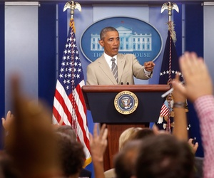 President Barack Obama takes questions in the James Brady Press Briefing Room at the White House, Aug. 28, 2014, before convening a meeting with his national security team on the militant threat in Syria and Iraq.