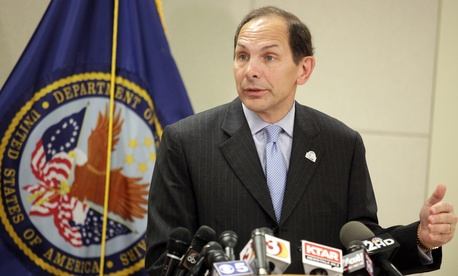 Veterans Affairs Secretary Bob McDonald, on August 8, 2014, speaks at the Phoenix VA Medical Center.