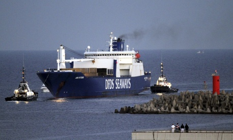 The Danish cargo ship Ark Futura, carrying Syria's acknowledged chemical weapons stockpile, arrives at Gioia Tauro in southern Italy on July 2, 2014.