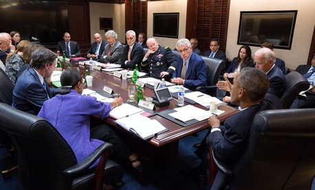President Obama meets with members of the National Security Council in the White House on September 10, 2014.