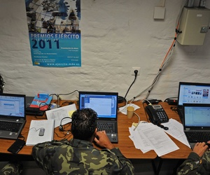 Members of the Ukraine military monitor and maintain a network during the exercise Combined Endeavor 2011 in Grafenwoehr, Germany.