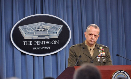 Marine Corps Gen. John Allen briefs reporters during a press conference at the Pentagon on March 26, 2012.