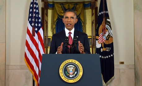 "President Obama on Wednesday addresses the nation from the Cross Hall in the White House on the new campaign to ""degrade and ultimately destroy"" the Islamic State."