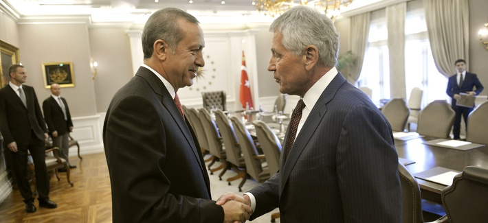 Defense Secretary Chuck Hagel shakes hands with Turkish President Reçep Tayyip Erdogan at Çankaya Palace in Ankara, Turkey.