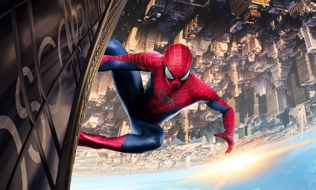 A movie poster for The Amazing Spider-Man 2, showing the superhero over the streets of New York City.