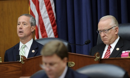 Reps. Mac Thornberry, R-Texas., and Buck McKeon, R-Calif., listen during a House Armed Services Committee hearing, on June 11, 2014.