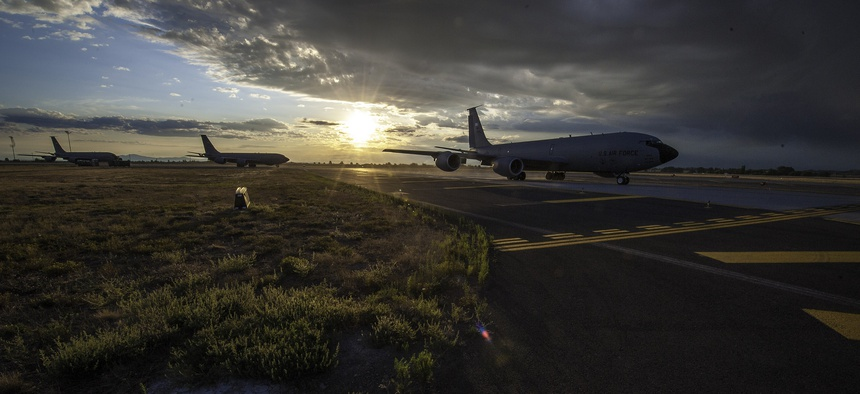 KC-135 Stratotankers taxi to a runway during an exercise at Fairchild Air Force Base, on August 22, 2014.