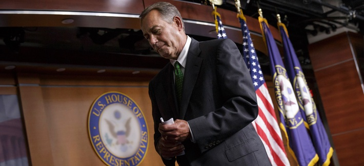 House Speaker John Boehner of Ohio leaves after a news conference on Capitol Hill in Washington, Sept. 11, 2014, to respond to the proposals from President Barack Obama about confronting the new wave of terrorism.