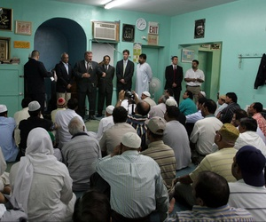 Officials from the FBI's New York counterterrorism division speak at the Makki Mosque in the Brooklyn borough of New York in the wake of the London terror attacks in July 2005.