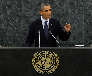 President Barack Obama addresses the 68th session of the United Nations General Assembly at the United Nations headquarters, Sept. 24, 2013. Last year, he spoke about Syria's chemical weapons. This year the focus is on ISIL and foreign fighters.