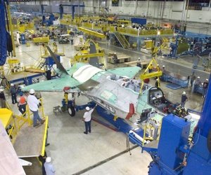 An F-35 under construction sits in a production line in one of Lockheed Martin's factories.