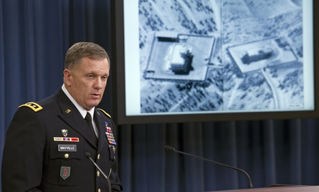 Lt. Gen William Mayville, Director of Operations J3 for the Joint Staff, discusses the military's strikes in Syria with reporters at the Pentagon, on September 23, 2014.