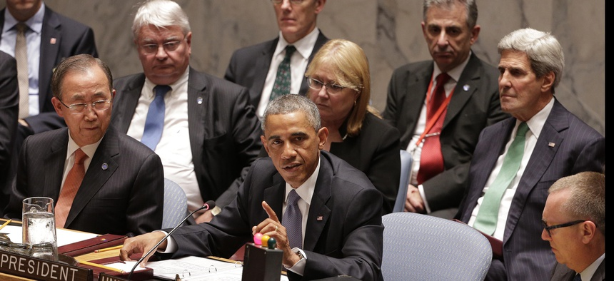 President Obama (center) speaks during a meeting of the U.N. Security Council, on September 24, 2014.