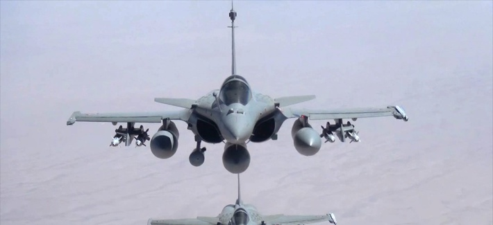 A screen shot from a video published by the French military showing the two Rafale jet fighters in the sky over Iraq during an operation.