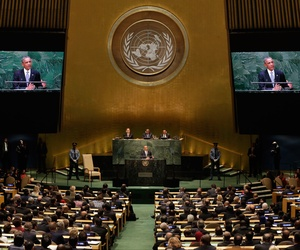 United States President Barack Obama addresses the 69th session of the United Nations General Assembly, at U.N. headquarters, Sept. 24, 2014.