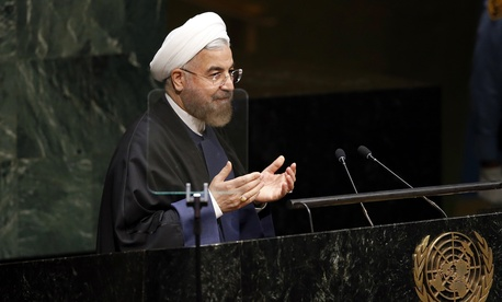 Iran's President Hassan Rouhani addresses the United Nations General Assembly, on September 25, 2014.