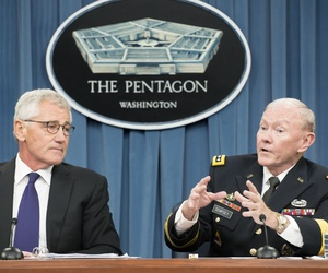 Defense Secretary Chuck Hagel and Joint Chiefs Chairman Gen. Martin Dempsey speak to reporters during a press conference at the Pentagon, on September 26, 2014.