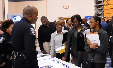 Soldiers and veterans attend a Hiring Our Heroes job fair at Fort Jackson, South Carolina.