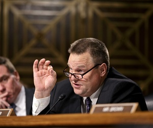 Sen. Jon Tester, D-Mont., speaks during a hearing of the Senate Banking Committee, on November 14, 2013.