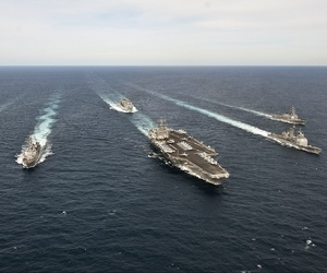 The Enterprise Carrier Strike Group transits the Atlantic Ocean, on March 22, 2012.