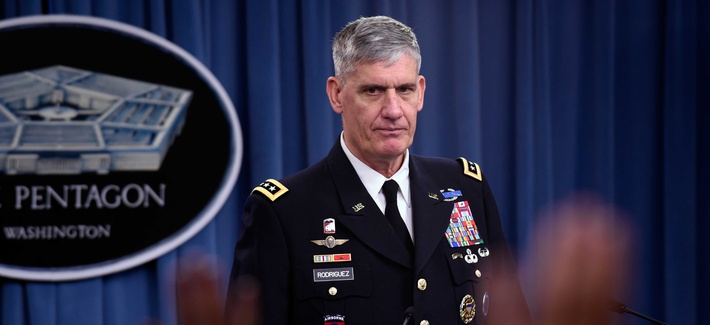 U.S. Africa Commander Gen. David Rodriguez listens to a question during a news conference at the Pentagon, on October 7, 2014.