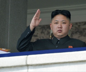 North Korean leader Kim Jong Un salutes during a mass military parade in Kim Il Sung Square to celebrate the birth of his grandfather, on April 15, 2012.