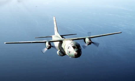 A C-27A Spartan, the military's version of the Aeritalia G222 plane, is seen in flight over Howard Air Force Base in Panama.