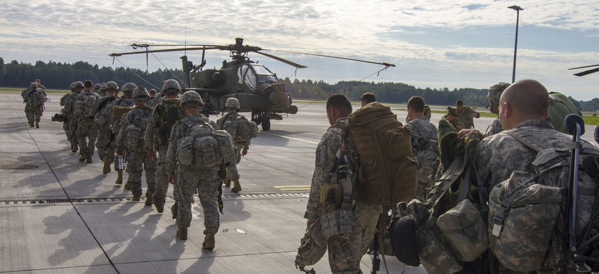 Paratroopers with the 173rd Airborne depart Lielvarde Airbase, Latvia, at the conclusion of Exercise Steadfast Javelin II, on September 8, 2014.