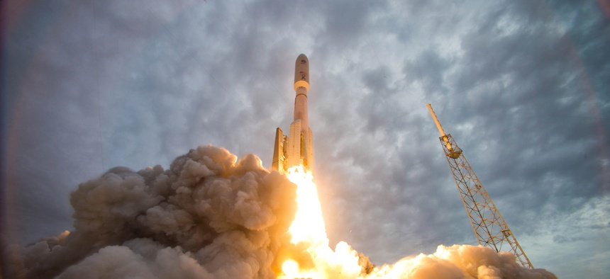 An Atlas V rocket launches the Navy's Mobile User Objective System 2 satellite from Space Launch Complex-41 at Cape Canaveral Air Force station, Fla.