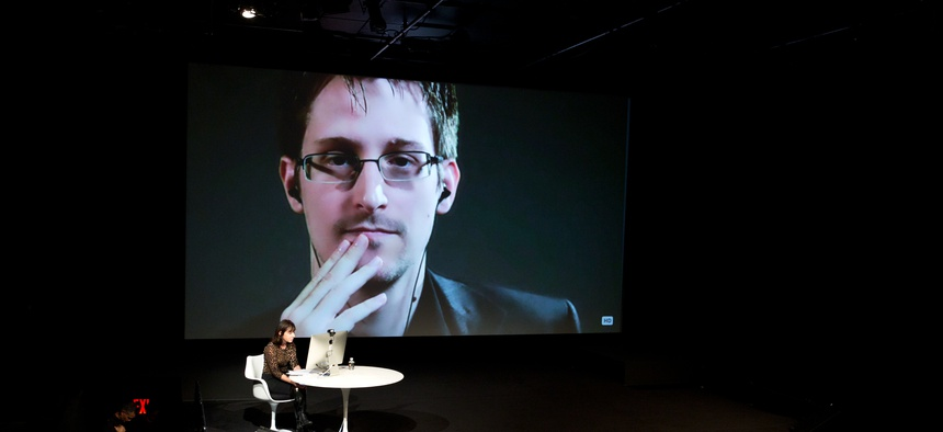 Edward Snowden talks with Jane Mayer via satellite at the 15th Annual New Yorker Festival, on October 11, 2014.