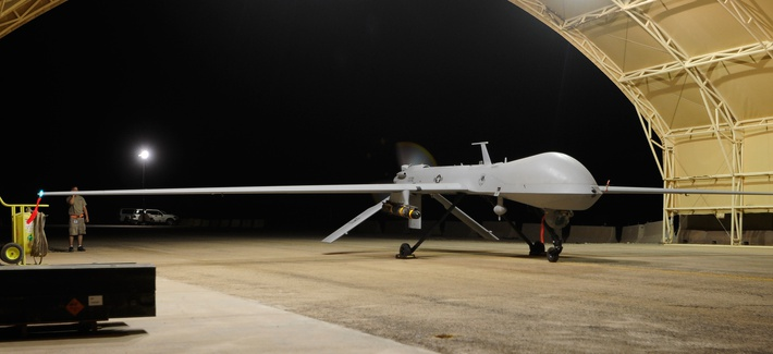 An MQ-1 Predator UAV prepares to launch for a night flight mission over southeastern Iraq.