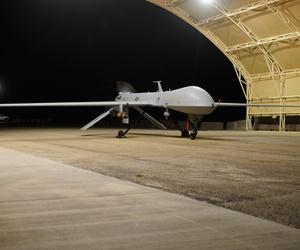 An MQ-1 Predator UAV prepares to launch for a night flight mission over southeastern Iraq.