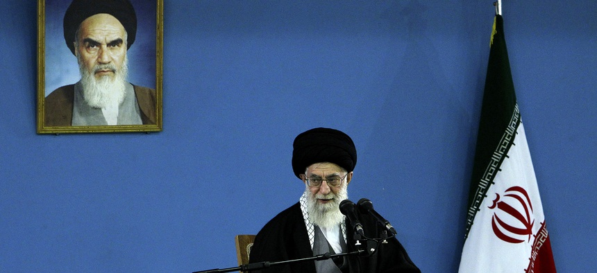 Iran's Supreme Leader Ayatollah Ali Khomeini delivers a speech in Tehran, on February 17, 2014.