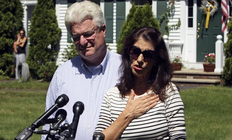 The parents of Jim Foley speak to reporters during a press conference at their home in Rochester, N.H., on August 20, 2014.