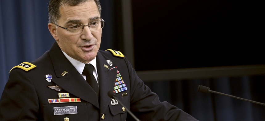 U.S. Forces Korea commander Gen. Curtis Scaparrotti speaks to reporters during a briefing at the Pentagon, on October 24, 2014.