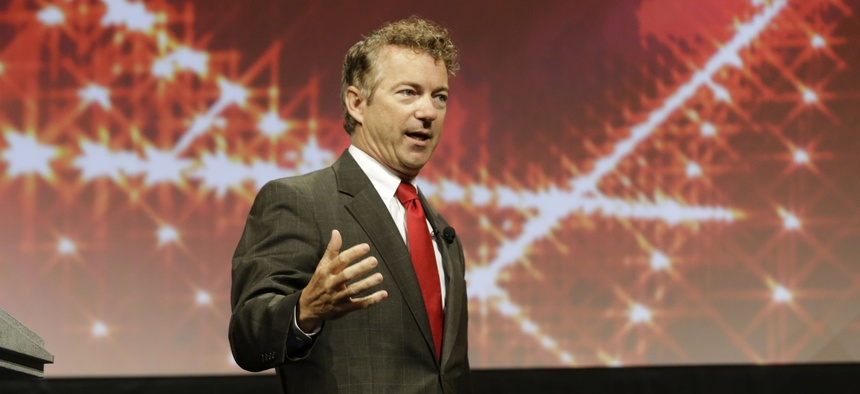 Sen. Rand Paul, R-Ky., speaks to conservatives at the American for Prosperity rally, on August 29, 2014.