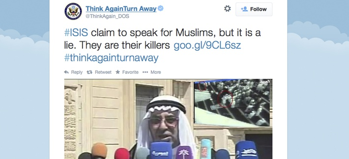 "A screenshot from the State Department's ""Think Again Turn Away"" Twitter account."