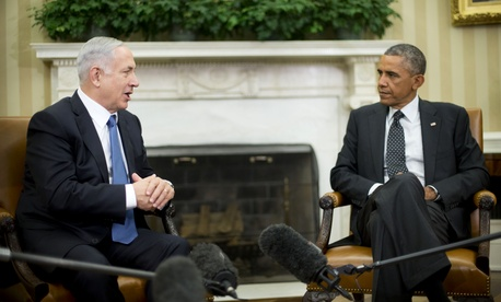 Israeli Prime Minister Benjamin Netanyahu meets with President Obama in the Oval Office, on October 1, 2014.