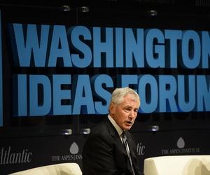 Defense Secretary Chuck Hagel speaks at the Washington Ideas Forum at the Shakespeare Theater in Washington D.C., on October 29, 2014.