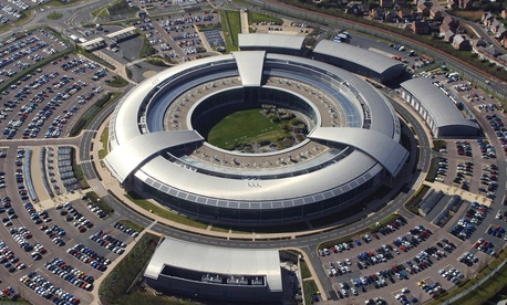 An aerial image of the Government Communications Headquarters (GCHQ) in Cheltenham, Gloucestershire.