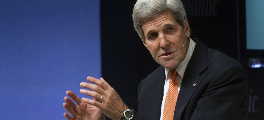 Secretary of State John Kerry participates in the Sixth Annual Washington Ideas Forum in Washington on Oct. 30, 2014. The forum is presented by the Aspen Institute and The Atlantic at the Harman Center for the Arts in Washington, D.C.
