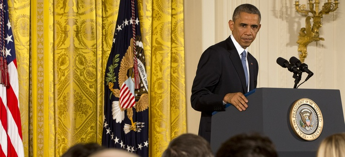 President Obama speaks to reporters during a news conference in the East Room of the White House, on November 5, 2014.
