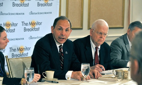 VA Secretary Bob McDonald speaks to reporters and other guests at a breakfast sponsored by the Christian Science Monitor.