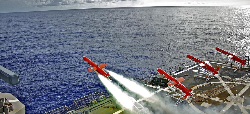 A BQM-74E drone is launched from the deck of the USS Lassen during a missile exercise, on September 21, 2010.