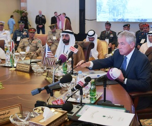 Defense Secretary Chuck Hagel speaks during the opening session of the Gulf Cooperation Council, on May 14, 2014.