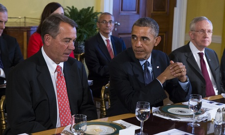 President Obama meets with Congressional leaders in the Old Family Dining Room of the White House, on November 7, 2014.